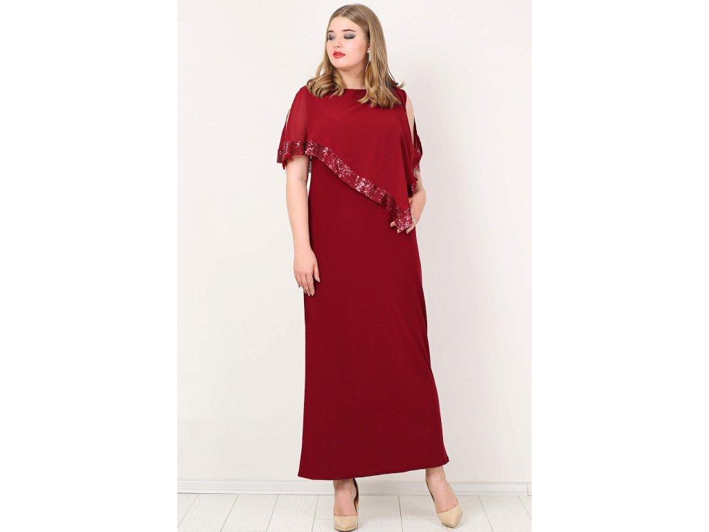Společenské šaty pro plnoštíhlé Cassandra vínově červené dlouhé ... 236afe6e12