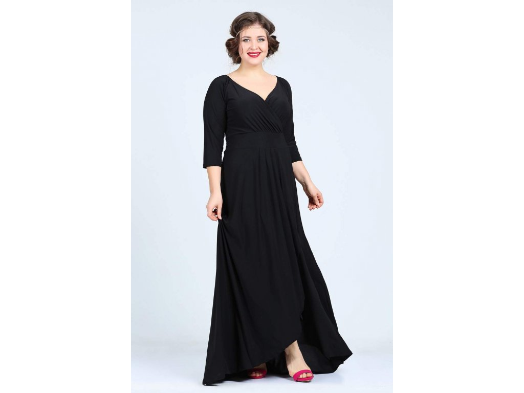 d0594a6dc15 Společenské šaty pro plnoštíhlé Federica černé dlouhé - Levné ...