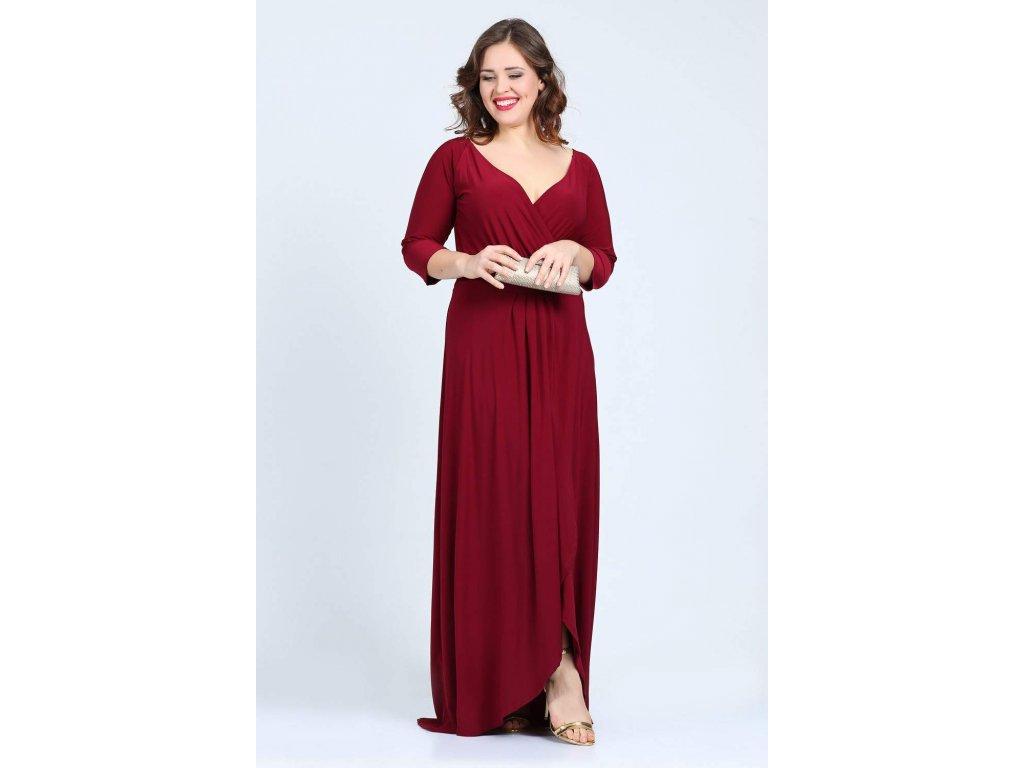 b3603680ab1 ... Společenské šaty pro plnoštíhlé Federica vínově červené dlouhé 4 ...