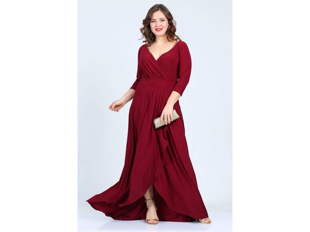 Společenské šaty pro plnoštíhlé Federica vínově červené dlouhé