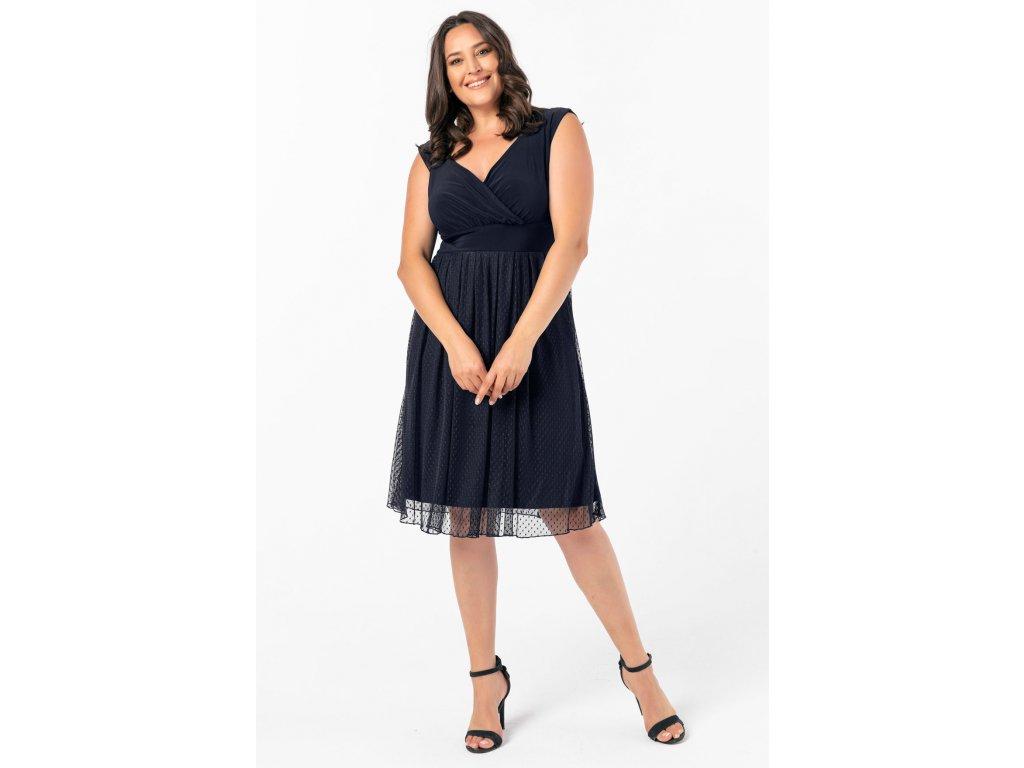 6e858c99b904 Společenské šaty pro plnoštíhlé Milly tmavě modré - Levné ...
