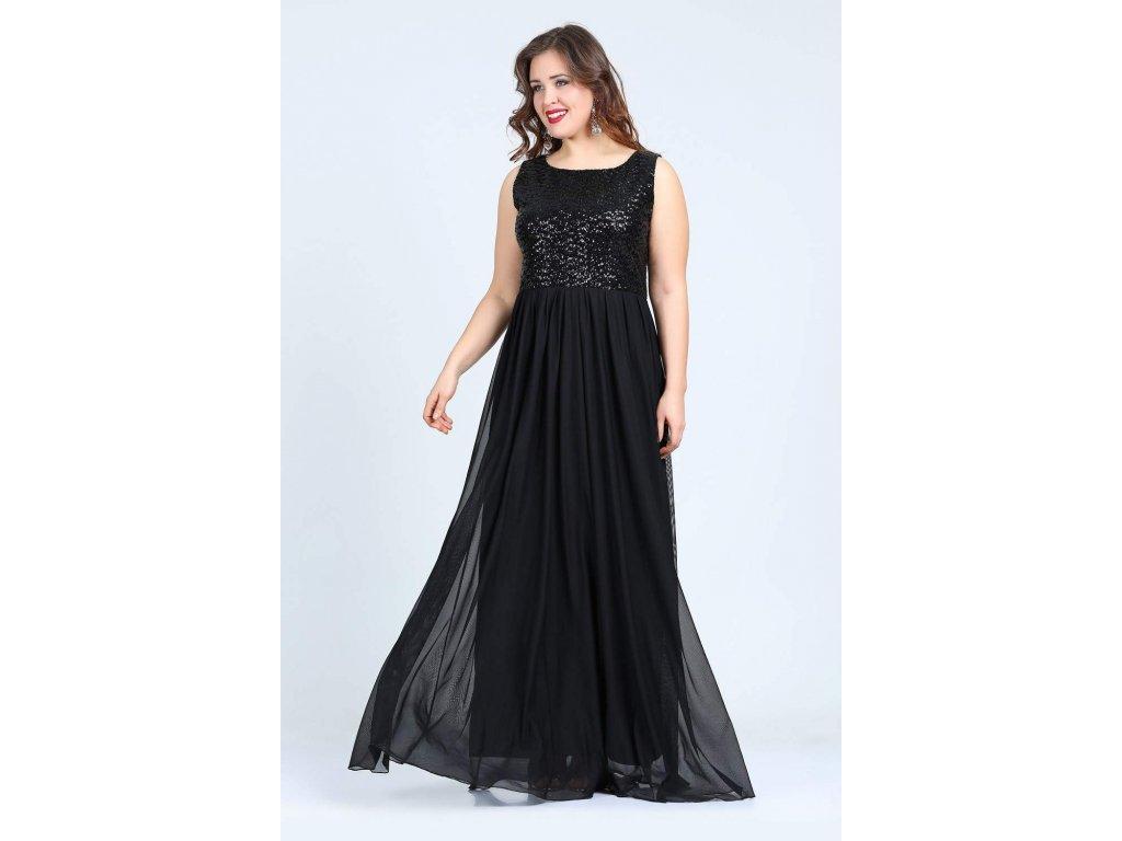 Luxusní plesové šaty pro plnoštíhlé Rihanna černé - Levné ... b52cd2a3e79