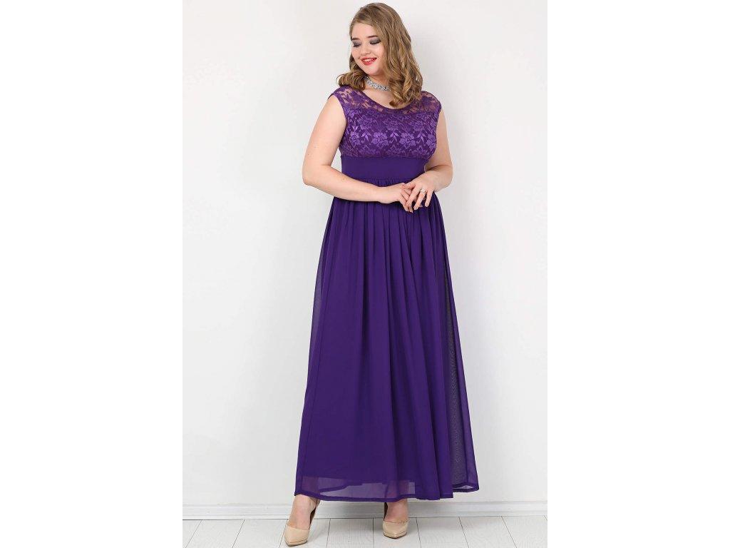 Společenské šaty pro plnoštíhlé Isidora fialové dlouhé - Levné ... 060ee2919a