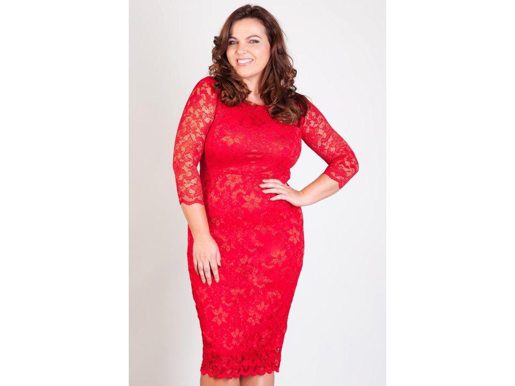 Společenské krajkové šaty Kiara červené - Levné společenské a ... 8dac88aa27