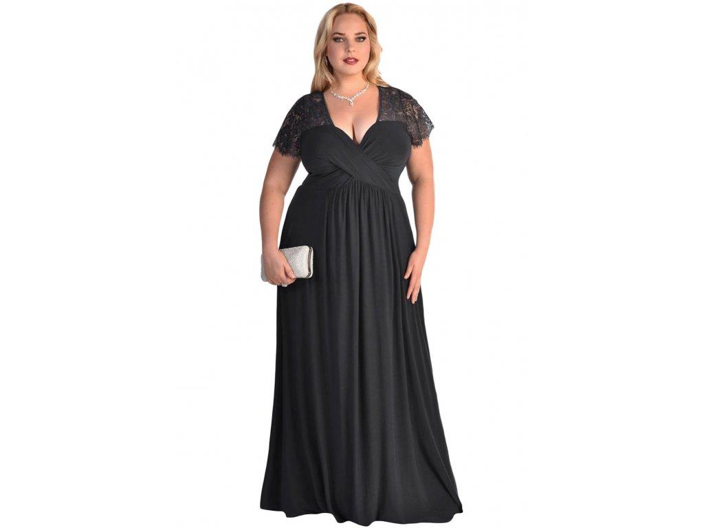 ca5a819d11ec Společenské šaty pro plnoštíhlé Riley černé dlouhé - Levné ...