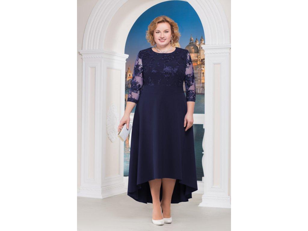 Luxusní společenské šaty pro plnoštíhlé Donatella tmavě modré dlouhé ... 0d1a14f7d4