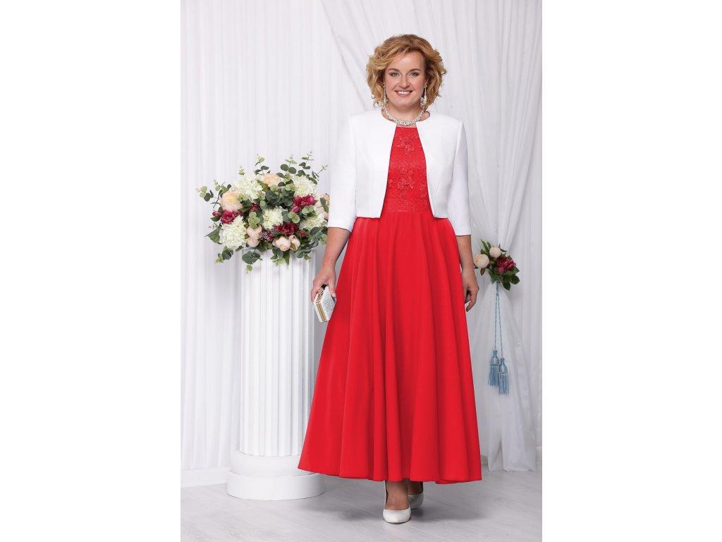 3dea145cbf3 Luxusní společenské šaty pro plnoštíhlé Eugenia červené dlouhé s bílým  kabátkem