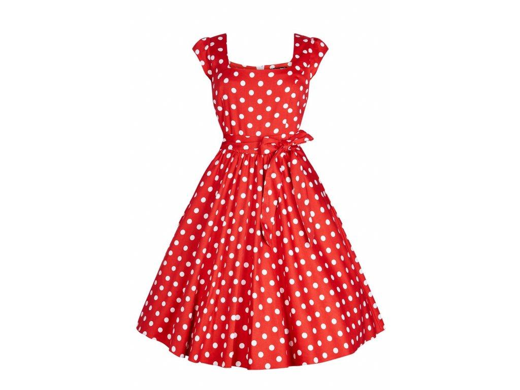 fe8415e72be7 Retro šaty pro plnoštíhlé Amalia červené s bílými puntíky s všitou  spodničkou