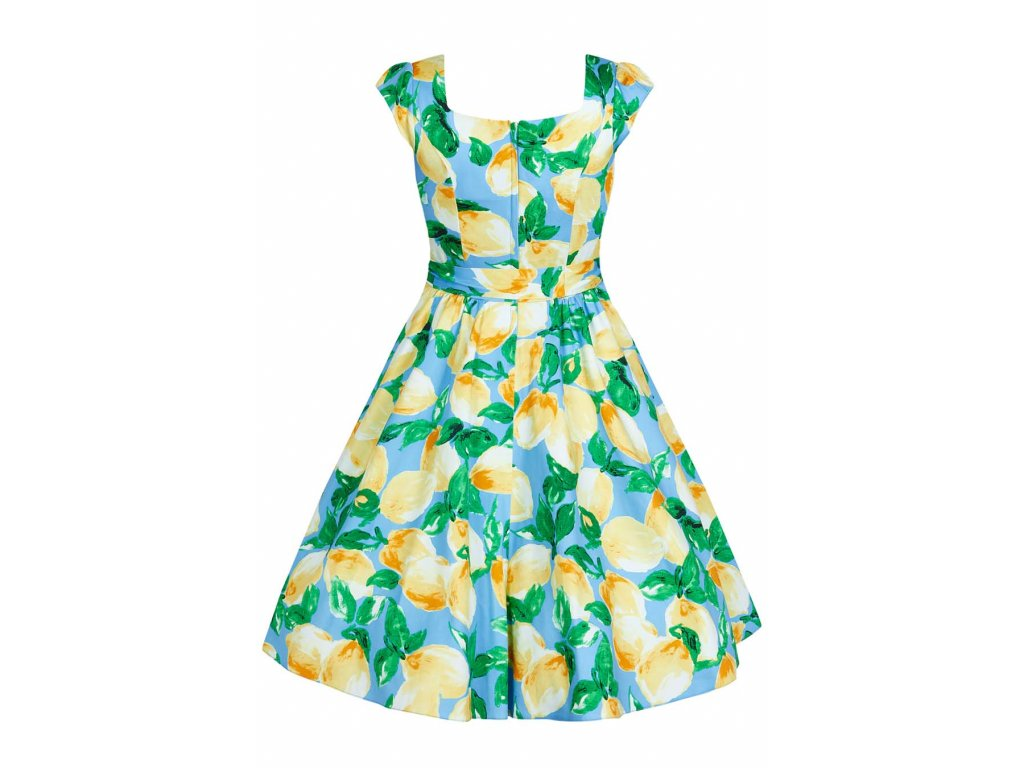 772c004232f0 Retro šaty pro plnoštíhlé Amalia světle modré s citróny s všitou spodničkou  zezadu