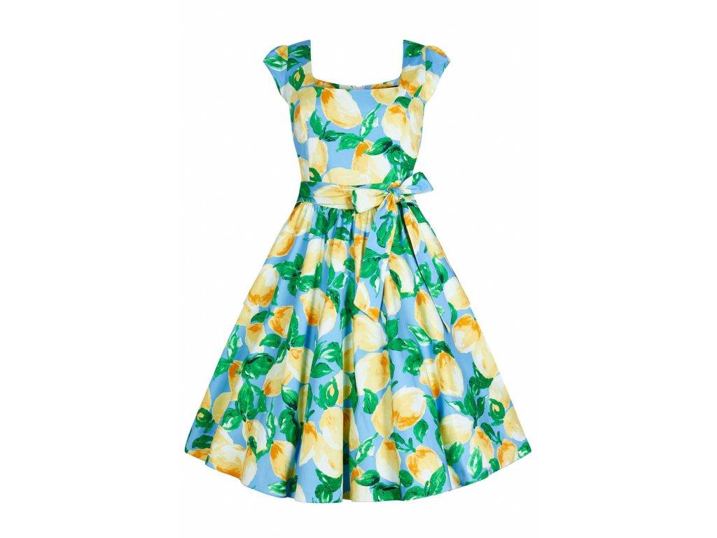 bb23a0950d52 Retro šaty pro plnoštíhlé Amalia světle modré s citróny s všitou spodničkou