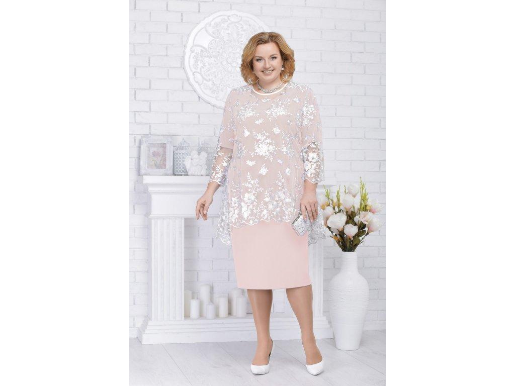 Luxusní společenské šaty pro plnoštíhlé Philippa broskvové s krajkovým  svrškem 9948d7630d