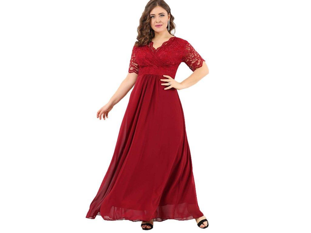 Společenské šaty pro plnoštíhlé Orlanda vínově červené dlouhé ... e0fdeb151bb