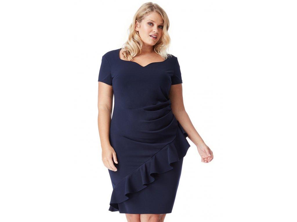 Společenské šaty pro plnoštíhlé Maudine tmavě modré - Levné ... c1e0b78b17