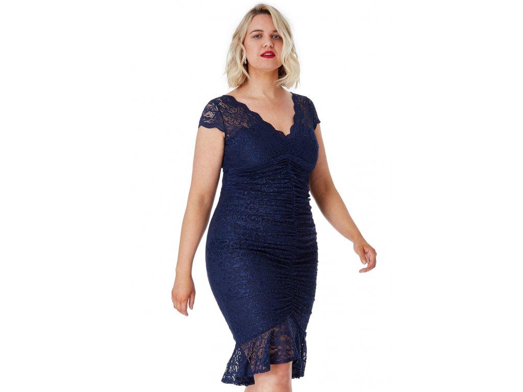 Koktejlové šaty pro plnoštíhlé Noelle tmavě modré - Levné ... b447fce5c84