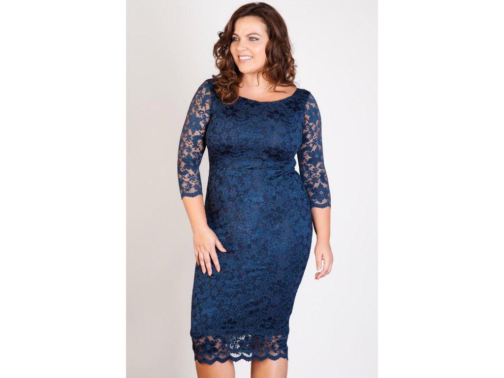 bbb3a1d9839 Společenské krajkové šaty pro plnoštíhlé Kiara tmavě modré - Levné ...