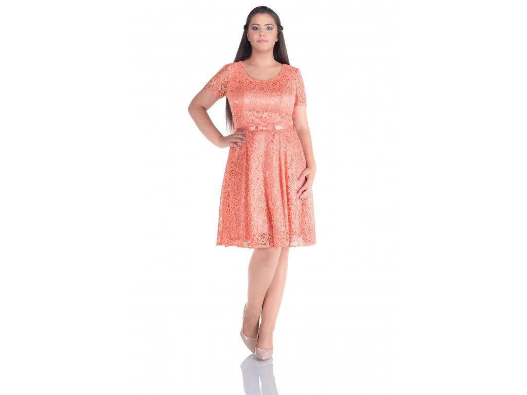 c5ceedc59a8e Společenské šaty pro plnoštíhlé Amber broskvové - Levné společenské ...