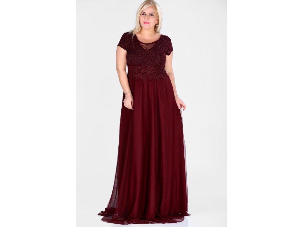 Společenské šaty pro plnoštíhlé Raimonda vínově červené dlouhé ... d184fe227f