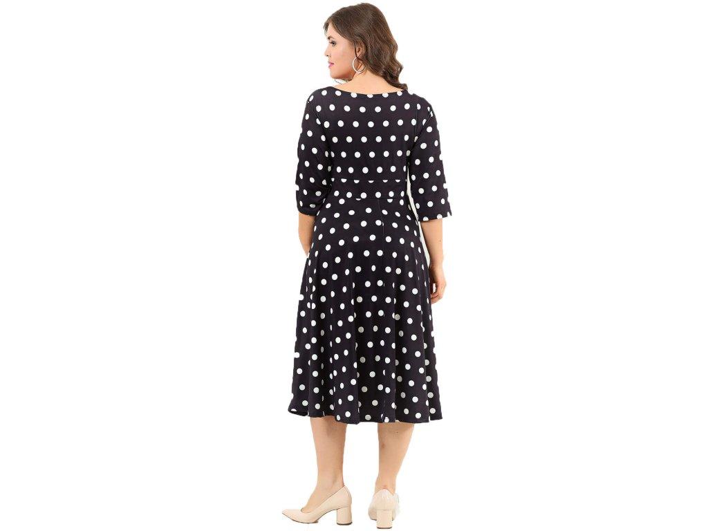 ... Společenské šaty pro plnoštíhlé Cassidy černé s bílými puntíky zezadu f8febeb3ba