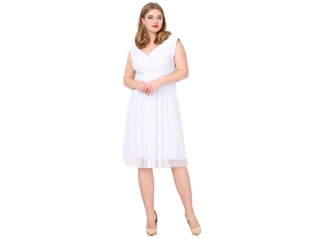 Společenské šaty pro plnoštíhlé Milly bílé - Levné společenské a ... 2b3f922581