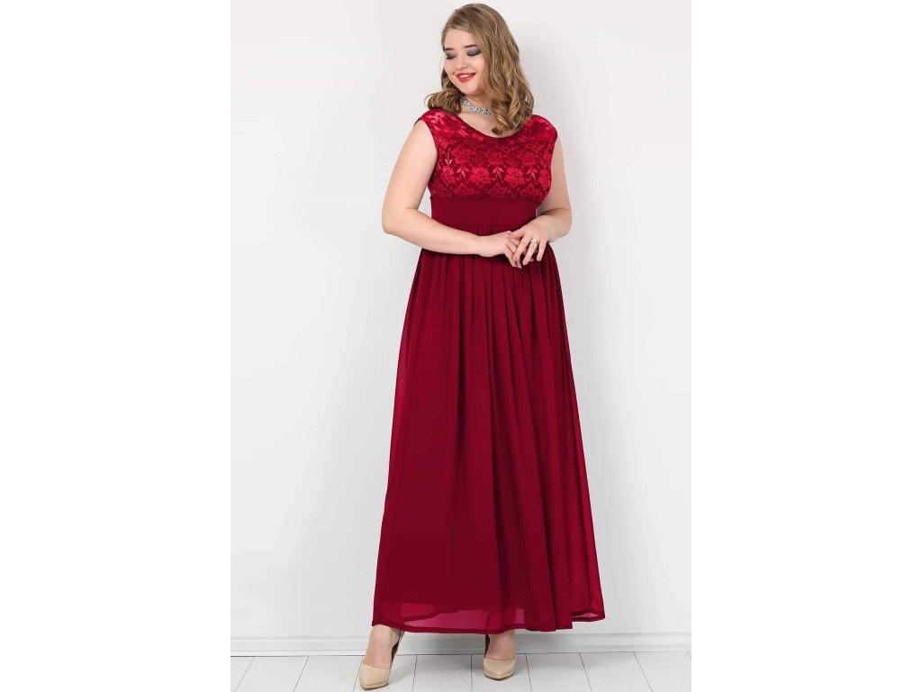 5b716c906c02 Společenské šaty pro plnoštíhlé Isidora vínově červené dlouhé ...