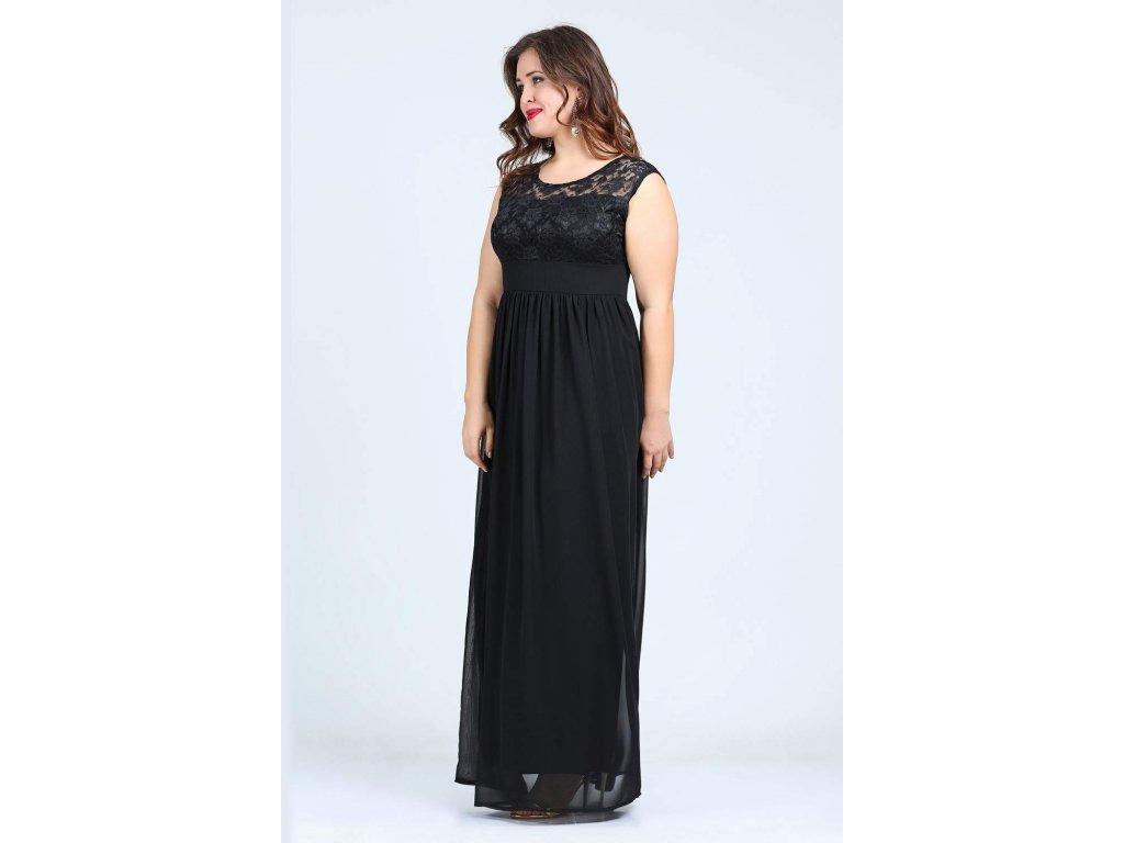 9a5d98b29dfd ... Společenské šaty pro plnoštíhlé Isidora černé dlouhé zboku ...
