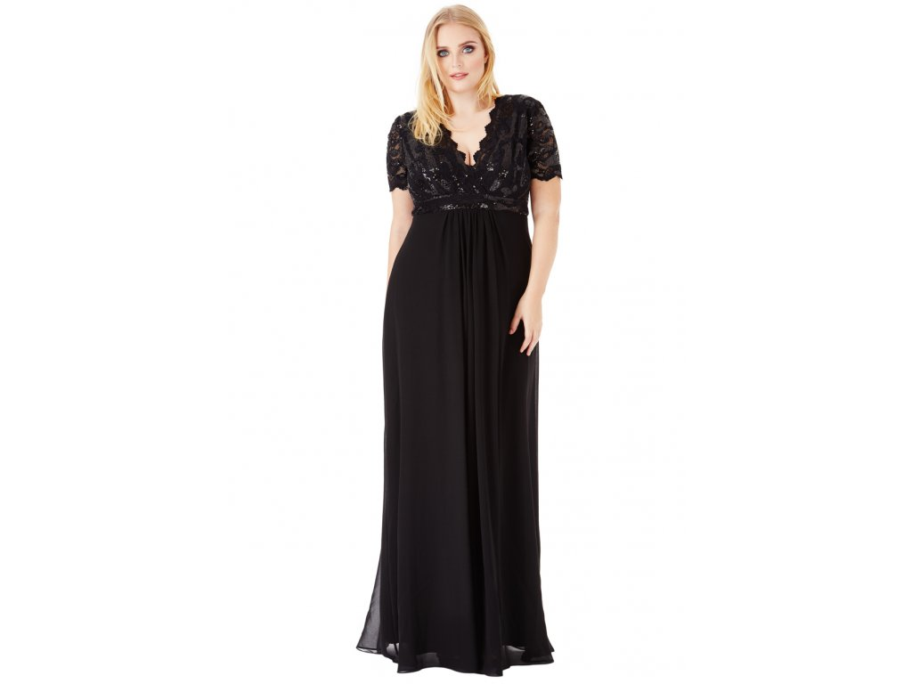 51c8fe83412 Luxusní společenské šaty pro plnoštíhlé Tiffanie černé - Levné ...
