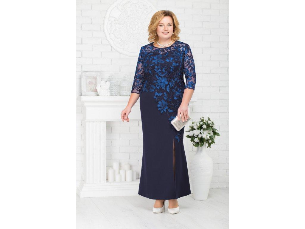 Luxusní společenské šaty pro plnoštíhlé Suzetta tmavě modré dlouhé ... a103a12a18