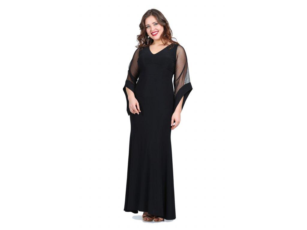 87cd9cf3ac3d Společenské šaty pro plnoštíhlé Serafina černé dlouhé - Levné ...