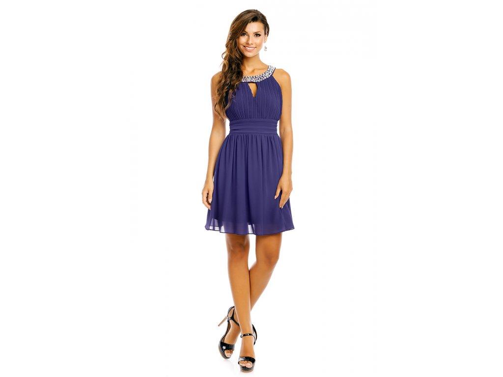 ab6b993ee00 Společenské šaty Areanna tmavě modré zezadu Společenské šaty Areanna tmavě  modré ...
