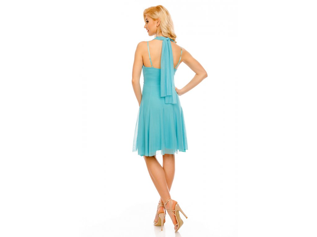 a40a205fd6c Koktejlové šaty Paolina mentolové - Levné společenské a plesové šaty ...