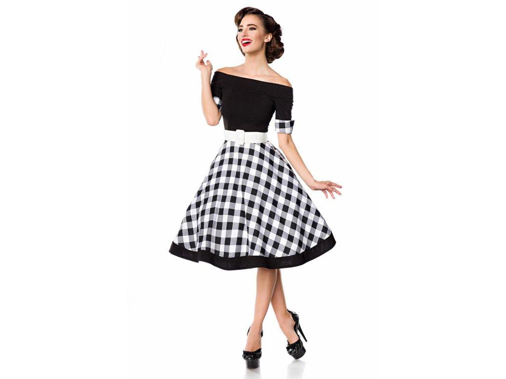 Rockabilly retro šaty Tinley černé s kostkovým vzorem