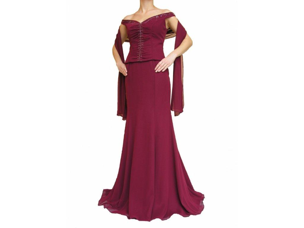 Dynasty luxusní společenské dlouhé šaty Marianne vínově červené s šálou 054f9c5c43
