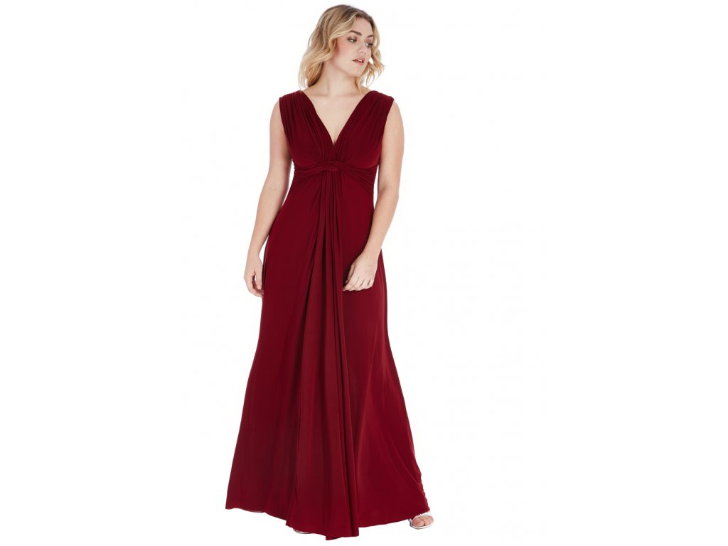 Plesové šaty pro plnoštíhlé Domenica vínově červené