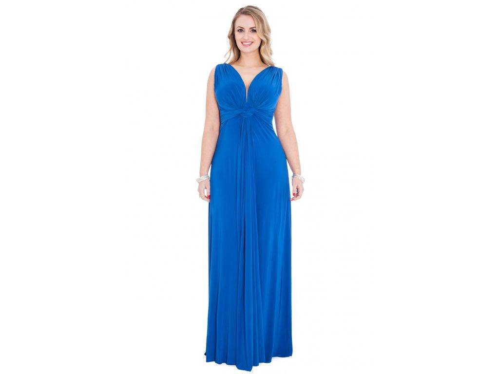 Plesové šaty pro plnoštíhlé Domenica modré