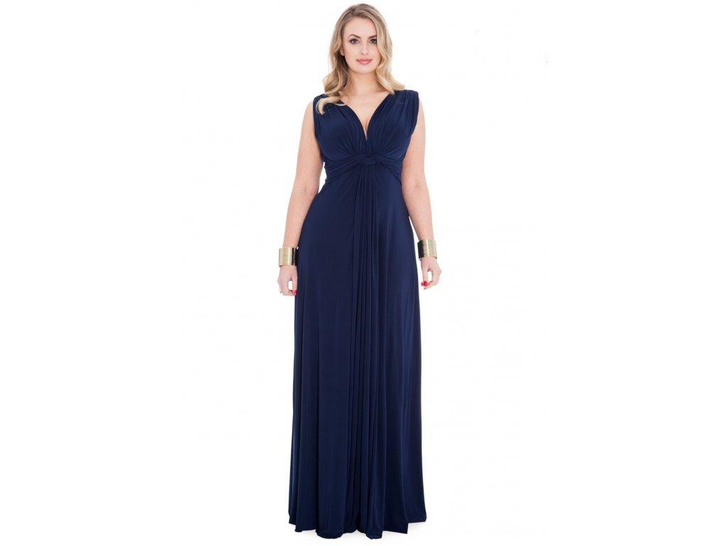 Plesové šaty pro plnoštíhlé Domenica tmavě modré