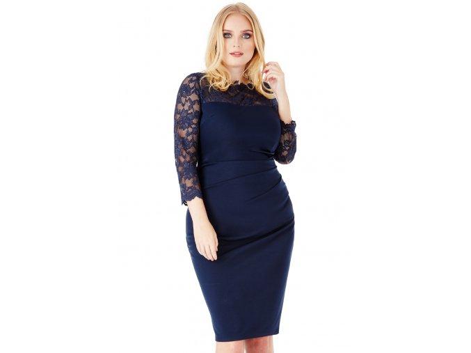 Společenské šaty pro plnoštíhlé Queen tmavě modré