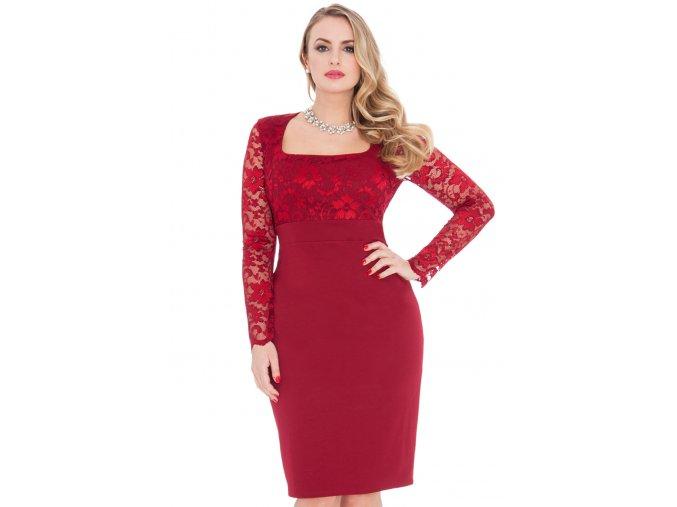 Společenské šaty pro plnoštíhlé Devon vínově červené s krajkou