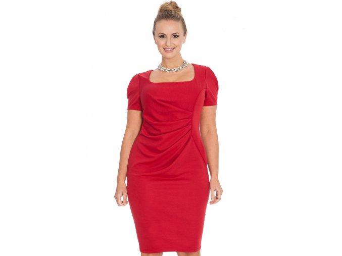 Společenské šaty pro plnoštíhlé Aubrey červené