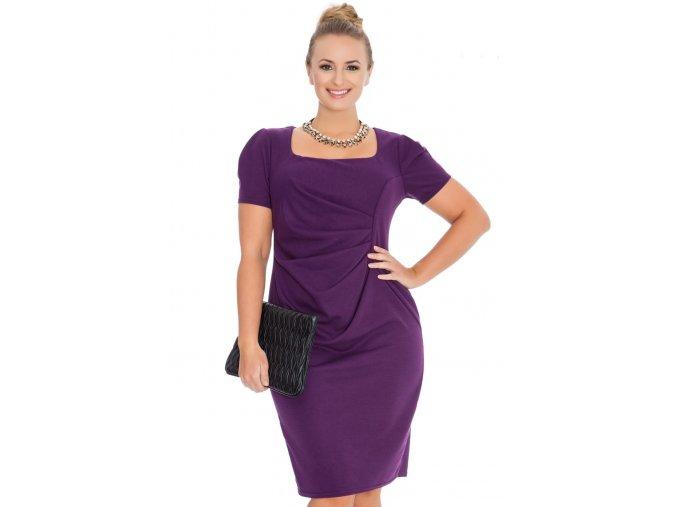 Společenské šaty pro plnoštíhlé Aubrey fialové