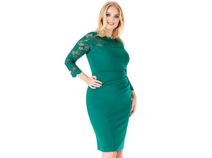 Společenské šaty pro plnoštíhlé Queen zelené