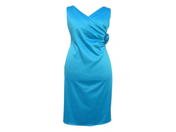 Společenské šaty pro plnoštíhlé Agnes tyrkysové