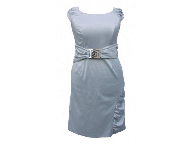 Společenské šaty pro plnoštíhlé Francis ocelově modré