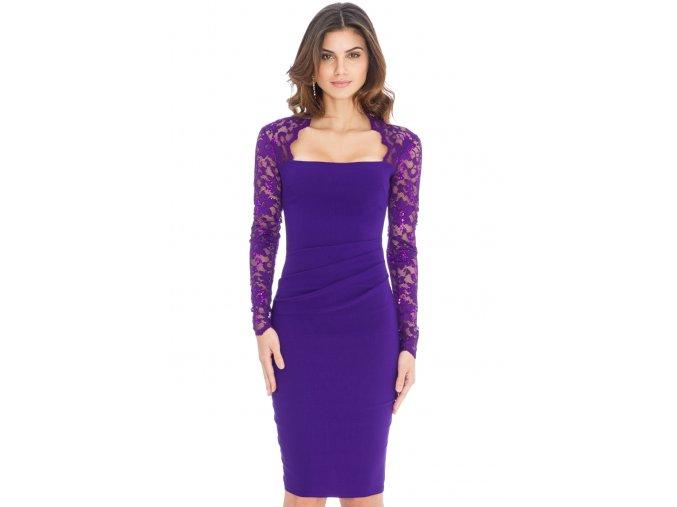 Společenské šaty Avery fialové s krajkou