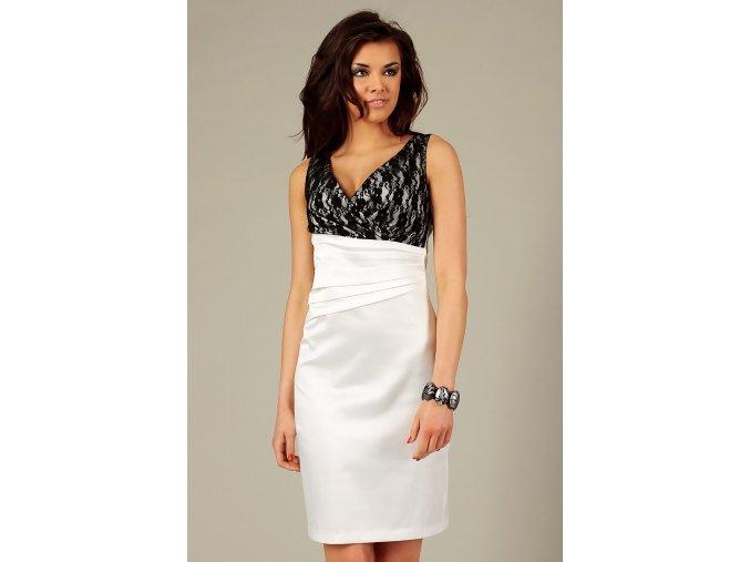 Společenské šaty pro plnoštíhlé Jacklyn s krajkou bílé