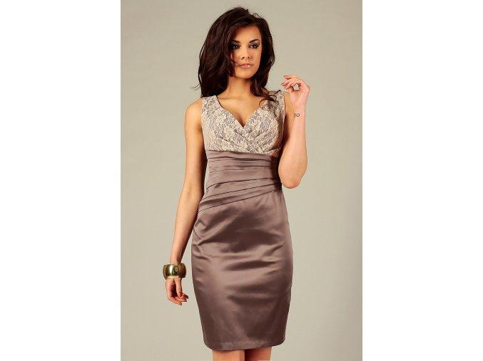 Společenské šaty Jacklyn s krajkou hnědé