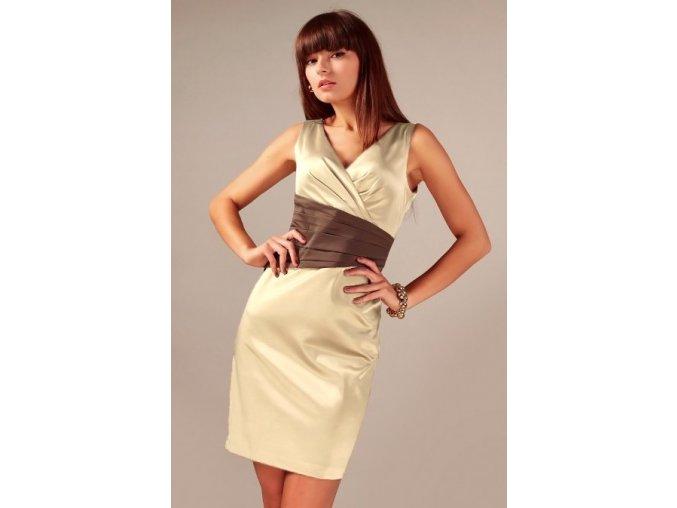 Společenské šaty pro plnoštíhlé Jacklyn hnědo-béžové