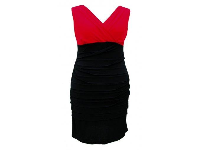 Společenské šaty pro plnoštíhlé Vera červeno-černé