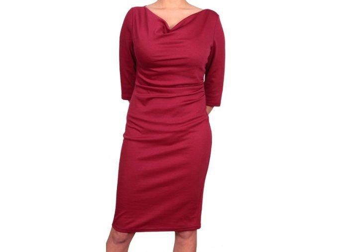 Společenské šaty pro plnoštíhlé Camilla vínově červené