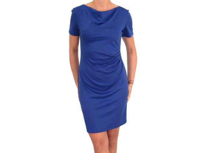 Společenské šaty pro plnoštíhlé Camilla krátký rukáv modré