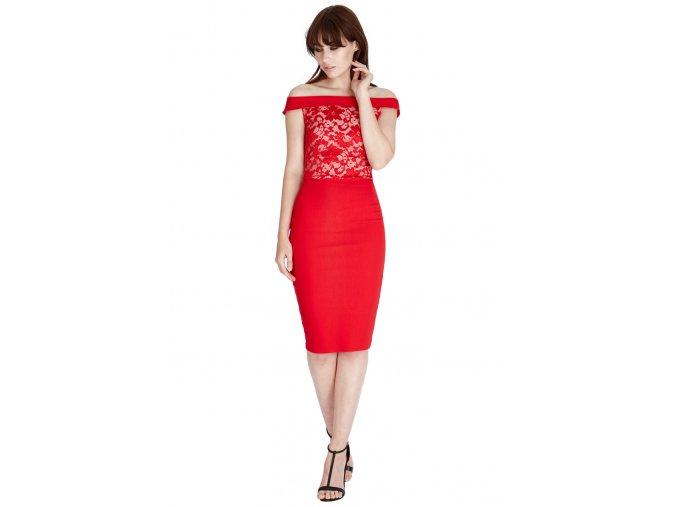 Společenské šaty Gwyn červené s krajkou